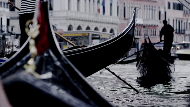 Gondolas under the rialto bridge