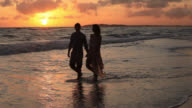 Good Looking Young Couple walking by the Sea at Sunset