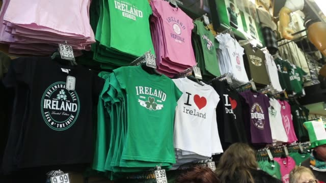 Goods for sale inside a Dubllin souvenir store tshirts caps children's clothing fridge magnets Dublin souvenir store on March 17 2013 in Dublin...
