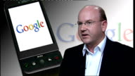 Google Android technology launches new mobile phone ENGLAND London Florian Seiche interview SOT
