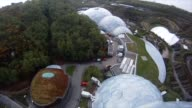 Gopro camera shot mounted on Lauraine's helmet supplying a firs person perspective view of the zip line flight over the Eden Project gardens Flying...