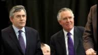 Gordon Brown addresses supporters at Glamorgan Cricket Ground WALES Cardiff Glamorgan Cricket Ground INT Gordon Brown MP and Peter Hain MP arriving...
