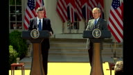 Gordon Brown and George W Bush press conference Prime Minister Gordon Brown press conference SOT Thanks Bush / the world owes President George Bush a...
