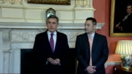 Gordon Brown and Georgian Prime Minister Lado Gurgenidze at No10 / comments on Georgia and Lloyds/HBOS merger ENGLAND London Downing Street No10 INT...