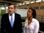 Gordon Brown and Kelly Holmes interview ENGLAND London INT Prime minister Gordon Brown and Olympic champion Dame Kelly Holmes along as greeting...