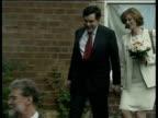 Gordon Brown and new bride Sarah leaving wedding and saying goodbye to family Aug 00