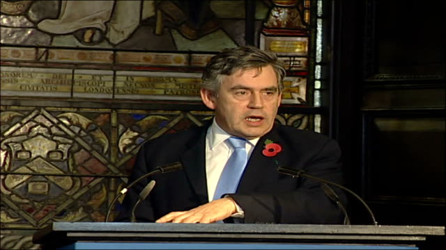 Gordon Brown attends ceremony to launch bonds to finance immunisation programme speech ENGLAND London INT Back view of attendees at government launch...