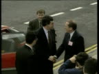 Gordon Brown exits car and greets people before walking up steps Swansea May 94