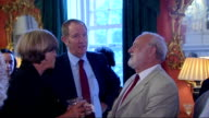 Gordon Brown hosts antiApartheid reception ENGLAND London Downing Street INT Peter Hain MP talks to unidentified guest / Neil Kinnock chats with...