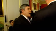 Gordon Brown hosts England Rugby team in Downing Street Gordon Brown MP into room and shakes hands with rugby players Brown chatting to Johnson and...