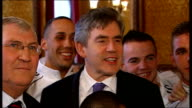 Gordon Brown meets British Olympic boxing team ENGLAND London Westminster House of Commons PHOTOGRAPHY *** Gordon Brown MP talking to members of...