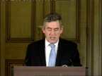 Gordon Brown monthly press conference Gordon Brown press conference Q and A SOT Question on capital gains tax More questioning on Party funding...