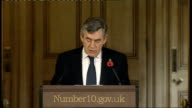 Gordon Brown monthly press conference ENGLAND London Downing Street PHOTOGRAPHY *** Gordon Brown MP press conference SOT Good morning I apologise for...