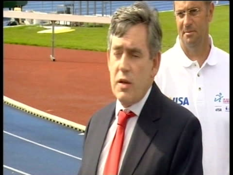 Gordon Brown MP talks to press about his support for Prime Minister Tony Blair's decisions regarding his political future London 07 Sep 06