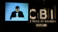 Gordon Brown rules out extra help with fuel payments 492008 Glasgow CBI INT Brown speaking from podium Brown speaking on video screen Audience of...