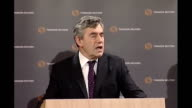 Gordon Brown speech at offices of Thomson Reuters in London Brown speech SOT Most importantly as a result of today's announcement there is an...