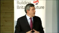 Gordon Brown speech on 'Building Britain's Future' Brown speech SOT I got a letter a few days ago she told me that her brother had died in the 1980s...