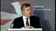 Gordon Brown speech on crime and antisocial behaviour Gordon Brown speech continues SOT That's why we backed the police every step of the way in...
