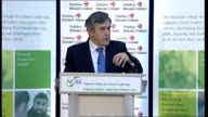 Gordon Brown speech on education Brown speech SOT Must always be restless in our ambition to improve / Instead of free market or heavy handed state...
