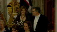 Gordon Brown speech on possible timetable for withdrawal from Afghanistan / repatriation ENGLAND London Guildhall INT Gordon Brown MP and his wife...