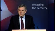 Gordon Brown speech on UK economy Gordon Brown speech continues SOT Part of our tough approach on spending will be the tough approach to pay in the...