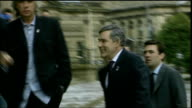 Gordon Brown under pressure from unions over public sector pay ENGLAND Liverpool EXT Gordon Brown MP along chatting to Phil Redmond with Andy Burnham...