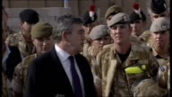 Gordon Brown visits troops in Basra Gordon Brown MP speech SOT Thank you for your courage professionalism dedication came here on hottest day of the...