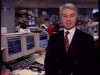 Gordon Brown's first Budge Measures ITN London The City Men sitting in City dealing room man talking into microphone about budget i/c Keith Skeoch...