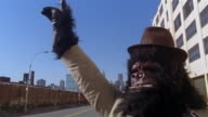Gorilla hailing cab on street with view of Manhattan skyline in background / Long Island City, Queens, New York City