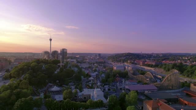 Göteborg Zweden Luchtfoto uitzicht over stad in Sunset