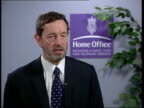 Government achieves target to reduce numbers ITN Home Office David Blunkett MP interview SOT here is man who as Home Sec in 96 introduced an act to...