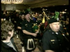 Government angered over Gerry Adams visit to United States USA New York City THROUGHOUT ** New York City Police Band Irish pipers leading Gerry Adams...