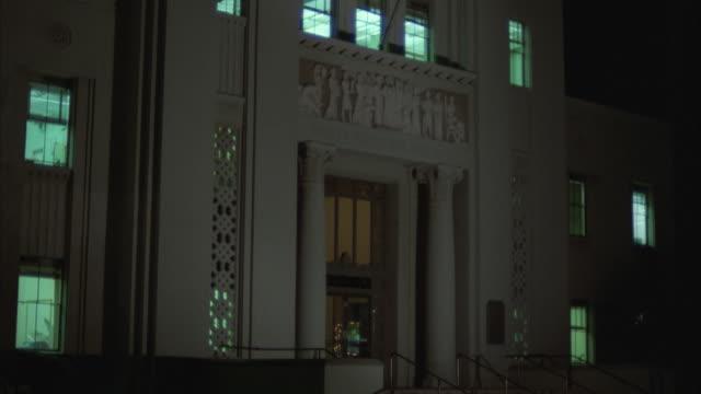 TU government building at night, New York City, New York, USA