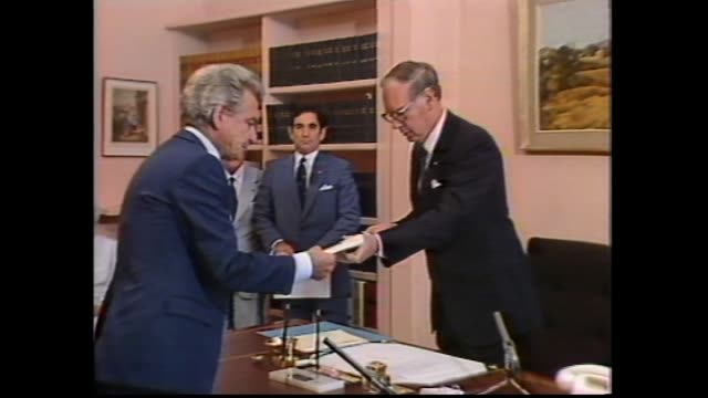 Canberrra new Labor Government Sworn In ext Government House Yarralumla / Bob Hawke arriving and getting out of car / Hawke inside Governor Generals...