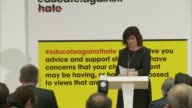 Government launch website to tackle extremism ENGLAND London Bethnal Green academy INT Nicky Morgan MP along to podium Exterior of Bethnal Green...