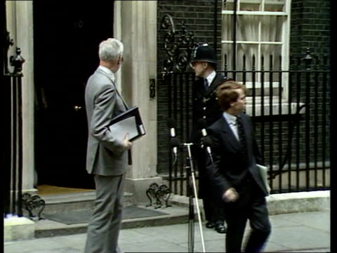 Government meet to discuss football violence ITN London Downing Street Margaret Thatcher towards out of No 10 PULL OUT as waves and gets into car MS...