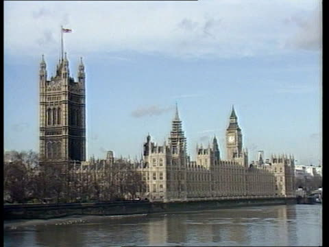 Government meet to discuss football violence ITN LIB GV Houses of Parliament from South Bank