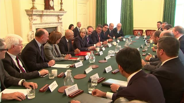 Government meets with housebuilders over land banks ENGLAND London Downing Street Number 10 INT Various of Prime Minister Theresa May MP Local...