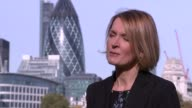 Government plans to eradicate gender pay inequality Sophie Walker interview Towerr Bridge and city of London buildings gvs ENGLAND London EXT Sophie...