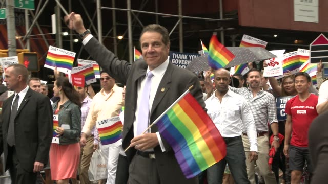 Governor Andrew M Cuomo shows his support by marching in the parade / Event took place two days after the Governor signed the bill into law that...