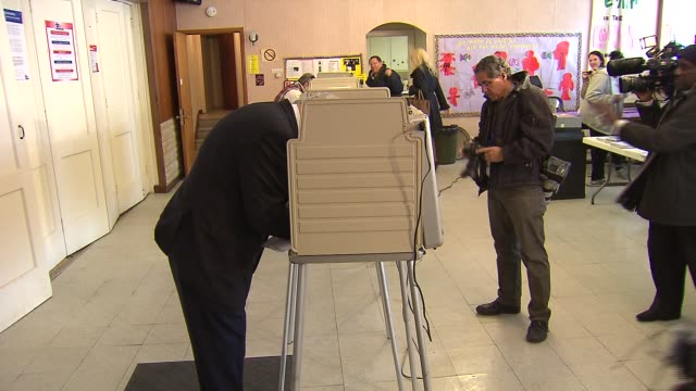 Governor Pat Quinn voting in the Illinois Primary at Galewood Community Church