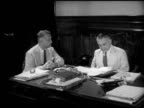 GOA INDIA GovernorGeneral of Portuguese India Paulo Benardo Guedes at desk March of Time director Dwight Godwin asking about colonialism Guedes SOT...