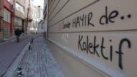 Graffiti and stickers opposing Turkish President Recep Tayyip Erdogan in Sakarya Turkey