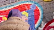 Graffiti Artist Paints with Stencil - CU