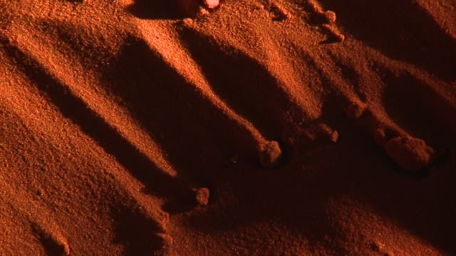 Grains of red sand drift across ridged sand dune. Available in HD.