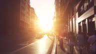 Gran via bei Sonnenuntergang in Madrid