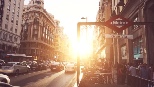 Gran via al tramonto a Madrid