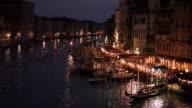 WS HA LD Grand Canal at Night / Venice, Italy