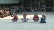 Grand champions of sumo wrestling perform rituals at Meiji Shrine in Tokyo in a New Year tradition CLEAN Japan sumo champions perform on January 08...