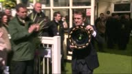 Grand National 2015 won by Many Clouds ENGLAND Liverpool Aintree EXT AP McCoy posing for photocall with achievement trophy Renamed bar unveiled...